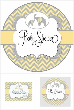 Yellow Elephant Chevron Baby Collection