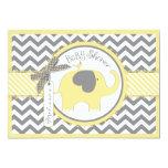 Yellow Elephant Chevron Print Baby Shower 5x7 Paper Invitation Card