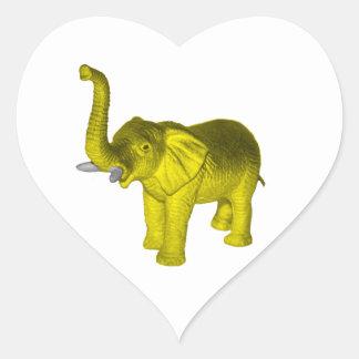 Yellow Elephant Heart Sticker