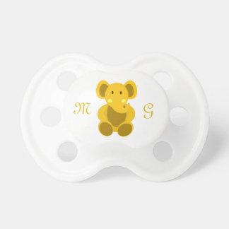Yellow Elephant & Monogram - Pacifier Pacifier