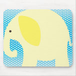 Yellow Elephant on Blue Mouse Pad