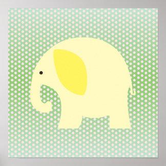 Yellow Elephant on Mint Green Print