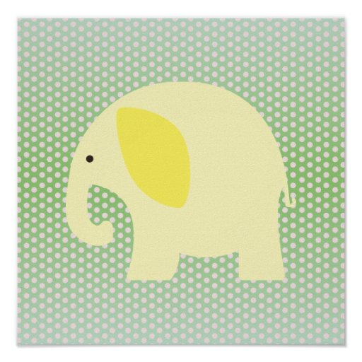 Yellow Elephant on Mint Green Poster