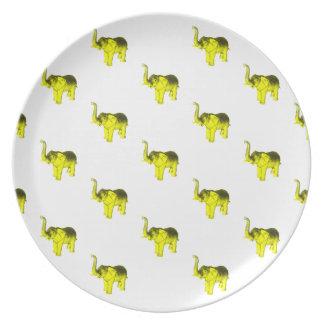 Yellow Elephant Pattern Plate