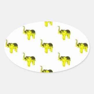 Yellow Elephant Pattern Oval Sticker