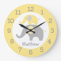 Yellow Elephant Personalized Wall Clock