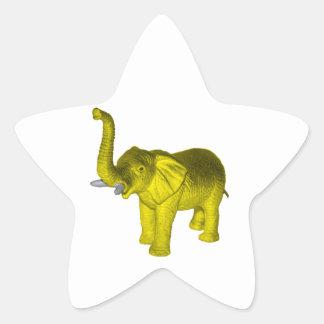 Yellow Elephant Star Sticker