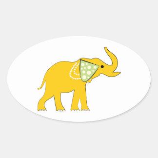 Yellow Elephant Oval Sticker
