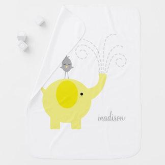 Yellow Elephant with Bird Personalized Swaddle Blanket