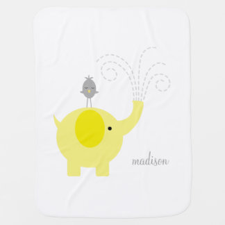 Yellow Elephant with Bird Personalized Stroller Blankets