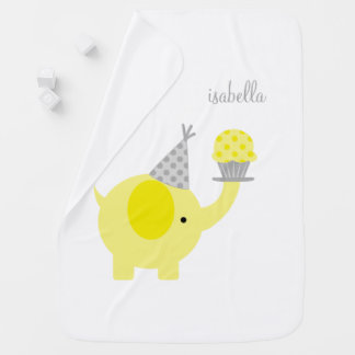 Yellow Elephant with Cupcake Personalized Receiving Blanket