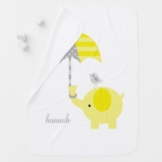 Yellow Elephant with Umbrella Personalized Baby Blanket