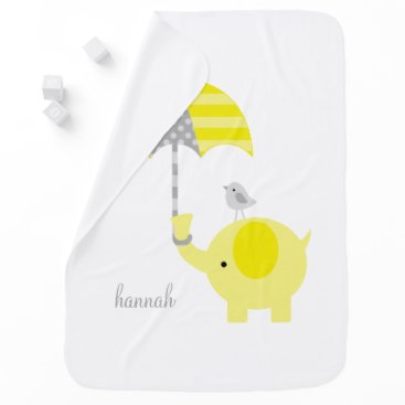 heartlocked Yellow Elephant with Umbrella Personalized Baby Blanket