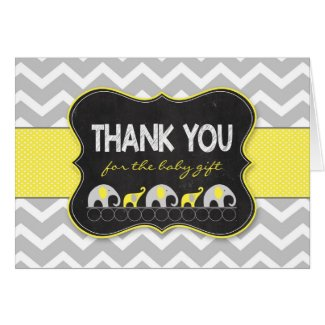 Yellow Elephants baby shower thank you notes