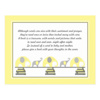 Yellow Elephants Insert for Book Baby Shower Postcard