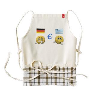 Yellow emoticon or smiley and euro zazzle HEART apron