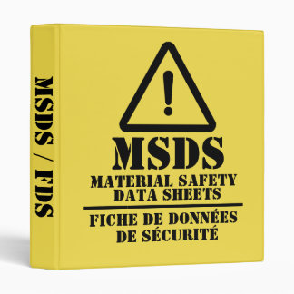 Yellow English and French MSDS / FDS Binder