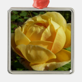 Yellow English Rose Old-Fashioned Floral Metal Ornament