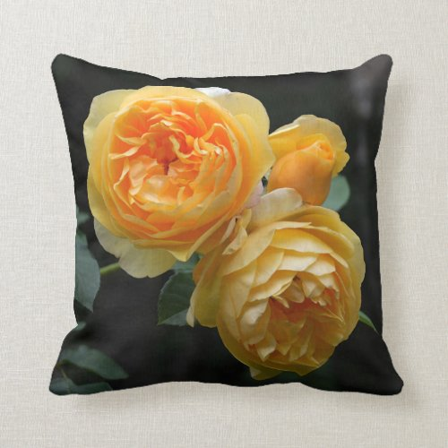 Yellow English Roses Throw Pillow