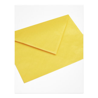Yellow envelope isolated on white letterhead