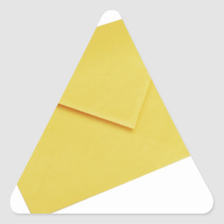 Yellow envelope isolated on white triangle sticker