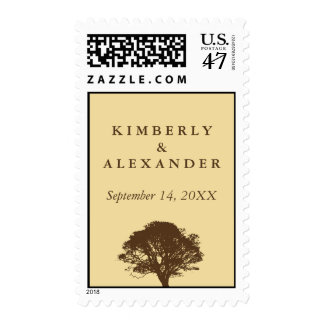 Yellow eternal oak tree custom wedding postage