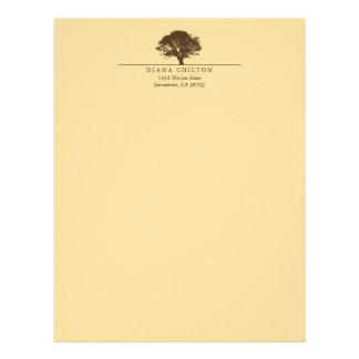 Yellow eternal oak tree elegant custom autumn letterhead