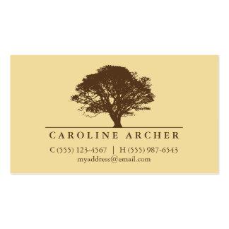 Yellow eternal oak tree elegant style nature business card