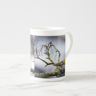 yellow Eurasian siskin on a bare branch in winter Tea Cup
