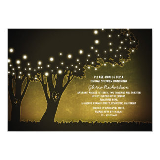 yellow evening romantic trees bridal shower invite
