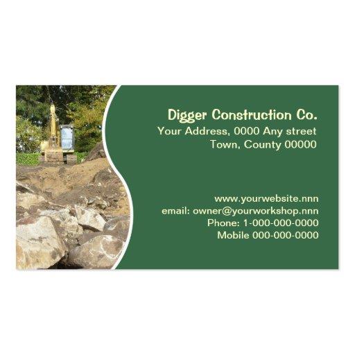 Yellow excavator business card