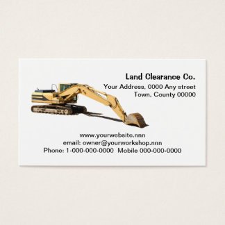 Yellow excavator cut out with resting bucket business card