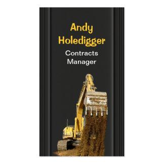 Yellow excavator discharging soil business card