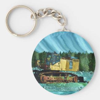 Yellow Excavator Earth-Mover Art Gift Keychain