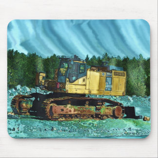 Yellow Excavator Earth-Mover Art Gift Mouse Pad