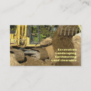 Excavation business cards zazzle yellow excavator emptying bucket business card colourmoves