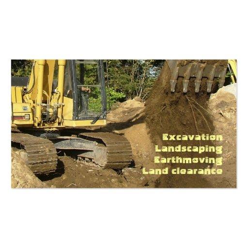 Yellow excavator emptying bucket business card