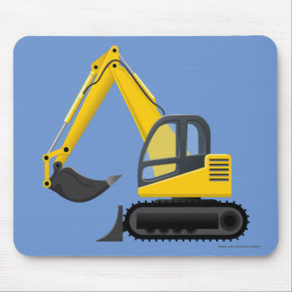 Yellow Excavator Heavy Machine for Kids Mouse Pad