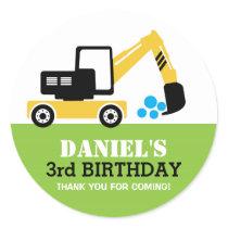Yellow Excavator Kids Birthday Party Sticker
