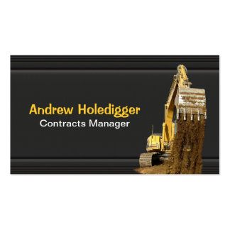 Yellow excavator on black business card