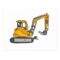 Yellow excavator postcard