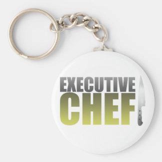 Yellow Executive Chef Basic Round Button Keychain