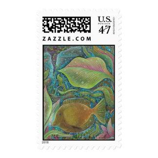 Yellow eye surgeonfish postage stamps