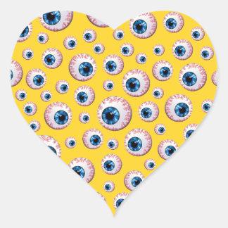 Yellow eyeball pattern heart sticker