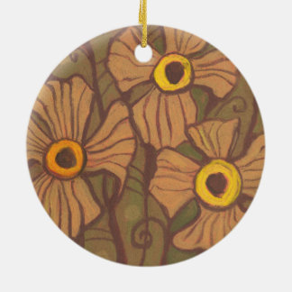 Yellow-eyed flowers, floral art,olive green brown ceramic ornament