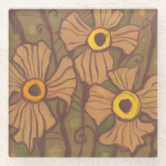 Yellow-eyed flowers, floral art,olive green brown glass coaster
