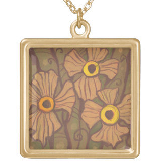 Yellow-eyed flowers, floral art,olive green brown gold plated necklace