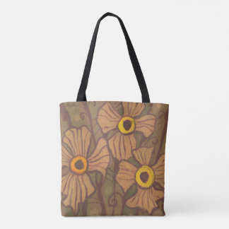 Yellow-eyed flowers, floral art,olive green brown tote bag