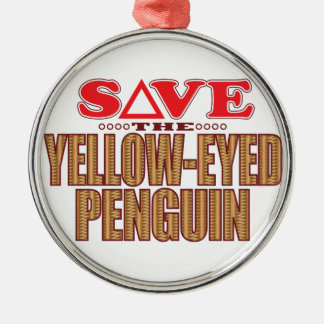 Yellow-Eyed Penguin Save Metal Ornament