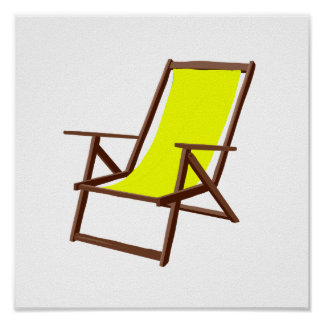 yellow fabric beach chair.png posters